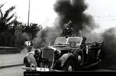 """History of Czechia - Photo from the film """"Atentát"""" (dir.J.Sequens, 1964). 27th May 2016, 74 years has passed from the day when Czech paratrooper Jan Kubiš threw a bomb on the car carrying Reinhard Heydrich, The Reich´s protector, general of police and the third highest man within Germany's """"Third Reich"""", resulting in death of """"the hangman of Czech nation."""""""