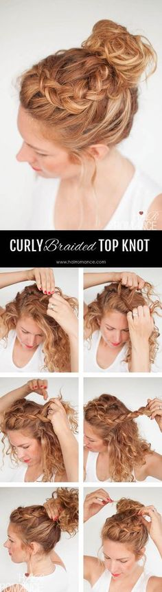 EVERYDAY CURLY HAIRSTYLES – CURLY BRAIDED TOP KNOT HAIRSTYLE TUTORIAL Chignon et tresses cheveux bouclés
