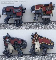 Warhammer Bolter gun props by nerfenstein Nerf Mod, Wolf Artwork, Space Wolves, Steampunk Cosplay, Arm Armor, Warhammer 40000, Space Marine, Cool Costumes, Larp