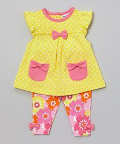 Yellow & Pink Polka Dot Tunic & Floral Pants - Infant