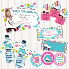 ROLLER SKATE  - Printable Party PACKAGE- Birthday - Personalized- Invitation Thank Yous Cupcake Toppers Bottle Wraps Food Tents