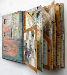 Website: hogret on devianART Altered book, a work in progress again from hogret on devianART. I can recognize that washi tape pattern anywhere it's one of my favorites. The washi tape design was from the oldbook collection. Checkout other Japanese washi Journal D'art, Art Journal Pages, Art Journals, Visual Journals, Journal Cards, Journaling, Classe D'art, Altered Book Art, Altered Books Pages
