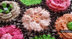 Crochet flower motifs for blanket + Diagrams + Free Pattern Step By Step