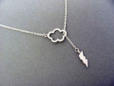 Silver Lightning Lariat Necklace- sterling silver filled, cloud thunderstorm, sexy sophisticated, available in gold. $24.00, via Etsy.