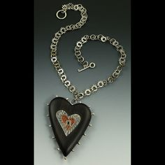 "Her hearts are just beautiful! ""Key to My Heart"" hand carved ebony, sterling silver, copper, steel by Michele Grady Artisan Jewelry, Handcrafted Jewelry, Handmade, Heart Jewelry, Beaded Jewelry, Key To My Heart, Homemade Jewelry, Wearable Art, Sterling Silver Jewelry"