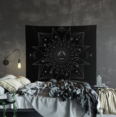 Moon and Star Tapestry - Alchemy Geometry Gray and White Tapestry Wall Hanging Meditation Yoga Hippie #MinimalistTapestry #HippyTapestry #SacredGeometry #GothicTapestry #HippyWallHanging #SpaceTapestry #WiccanSpace #SpaceGeometry #SpaceAlchemy #GeometryTapestry