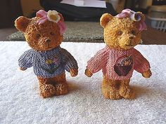 """Set Of 2 Female Bear Figurines """" BEAUTIFUL COLLECTIBLE DISPLAYABLE SET """" #collectibles #home"""