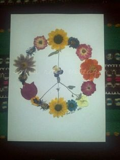 Pressed Flower Peace Sign Plant Peace OOAK by SofiaRoseVintage, $58.00