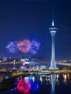 Macau Tower revolving restaurant watching World Firework Championships | HAUTE IN CHINA