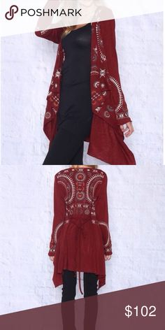 ❗️Sale❗️Burgundy Floral Embroidered Cardigan Beautiful Fall/Winter piece.  Burgundy embroidered cardigan has rich color and is a sure wardrobe add for the cooler seasons.  Size range is as follows:  Small (size 2-4), Medium (size 4-6) and Large (size 6-8).  Material:  95% Acrylic; 5% Spandex.  Price is firm on a single purchase. But discount is available by bundling.  Use the bundle button for extra savings! 😊 Monoreno Sweaters Cardigans