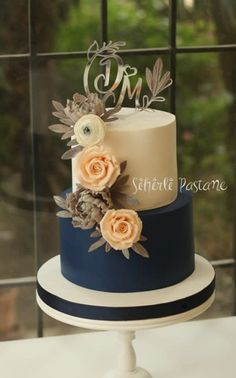 Navy Wedding Cake by Sihirli Pastane - http://cakesdecor.com/cakes/291554-navy-wedding-cake