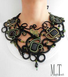 'In the shade of olive trees' ooak soutache necklace, artistic neckalce, original design, jewelry artwork, modern necklace, art  nouveau necklace, black necklace