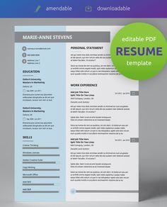 One of our classy, creative resume templates, with a pastel blue, grey and white design. All resume templates are easy to use & edit as PDF!