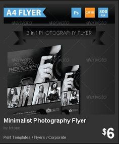 Minimalist Photography Flyer - This clean and simple 3 in 1 template is perfect for photography and other events with just minimal details or information.