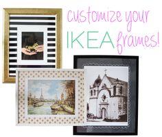 Three Ways to Customize your Ikea Frames - 6th Street Design School Cute! Love the stripe and polka dot ideas.