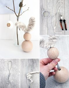Do it yoursel: Osterhase aus Holzkugeln selbst basteln DIY Ostern Osterhase Holz Draht The post Do it yoursel: Osterhase aus Holzkugeln selbst basteln appeared first on Holz ideen. Bead Crafts, Diy And Crafts, Crafts For Kids, Cork Crafts, Wooden Crafts, Diy Tumblr, Diy Ostern, Ideias Diy, Wooden Beads