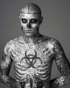 Macabre Tattoos show us how fashion can be as boundless as possible by featuring ''Zombie Boy'' Rick Genest as the new face of MUGLER fashion house. Discover at Yatzer the black and white images, which have been the talk of fashionistas world lately. Body Tattoo Design, Full Body Tattoo, Body Tattoos, Tattoo Designs Men, Men Tattoos, Rick Genest, Blackout Tattoo, Black Dagger Brotherhood, Tattoos Arm Mann