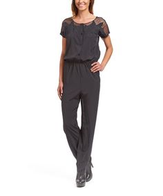 This Black Mesh-Detail Blouson Jumpsuit is perfect! #zulilyfinds
