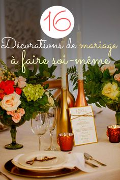 16 idées de décorations de mariage à faire soi-même Alcoholic Drinks, Ballons, Wine, Table Decorations, Bottle, Glass, Tulle, Home Decor, Pom Poms