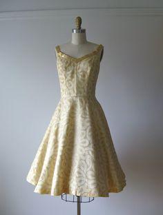 gold swirl #1950s #vintage #dress