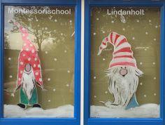 Kerst winter raamschildering met kabouters