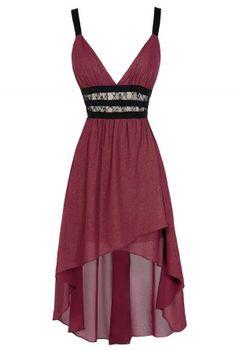 Maricela Shimmer Contrast High Low Dress in Magenta www.lilyboutique.com