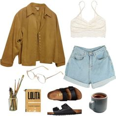 A fashion look from July 2016 featuring Coldwater Creek jackets, Victoria's Secret bras and Birkenstock sandals. Browse and shop related looks.