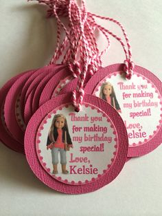 American Girl Custom Birthday Party Thank you Gift Tags on Etsy, $8.00