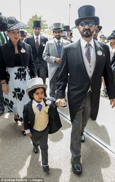 Sheikh Mohammed, Princess Haya, Crown Prince Hamdan and little Mohammed bin Ahmed Jaber Al Harbi attend day 1 of Royal Ascot at Ascot Racecourse on June 16, 2015 in Ascot, England.