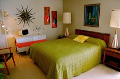 Mid century style bedroom ~ move startburst clock to above dresser