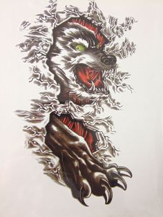 NEW ARRIVAL 21 X 15 CM Wolf and Claws Temporary Tattoo Stickers Temporary Body Art  Waterproof#159 #Affiliate