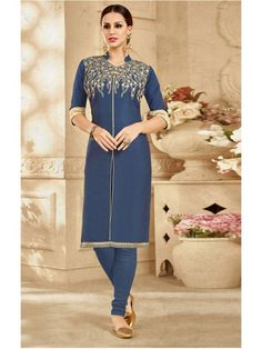 Attractive Navy Blue Embroidery Printed Kurti