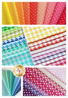 Three NEW collections of colorful basics from @mmillerfabrics!  Pinhead: http://www.shabbyfabrics.com/Pinhead-C1537.aspx  Everyday Houndstooth: http://www.shabbyfabrics.com/Everyday-Houndstooth-C1535.aspx  Kiss Dot: http://www.shabbyfabrics.com/Kiss-Dot-C1533.aspx