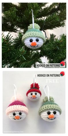 Crochet Christmas Decorations, Christmas Crochet Patterns, Crochet Amigurumi Free Patterns, Holiday Crochet, Christmas Knitting, Diy Christmas Ornaments, Holiday Crafts, Funny Christmas, Christmas Snowman