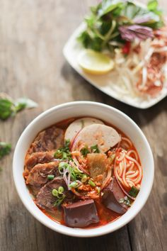 Bún Bò Huế Recipe - Spicy Beef & Pork Noodle Soup: I think I'd skip the coagulated blood part though. Vietnamese Soup, Vietnamese Cuisine, Vietnamese Recipes, Spicy Recipes, Asian Recipes, Soup Recipes, Cooking Recipes, Ethnic Recipes, Asian Desserts