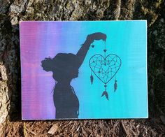 Heart Dream Catcher With Silhouette wood sign