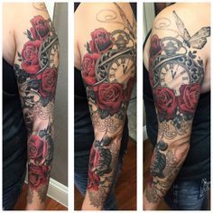Pocket watch, butterfly, roses, black and gray tattoo. Tattoo sleeve done by Veronica Dey www.Veronicadeytattoo.com