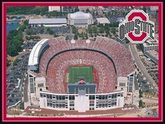 "Ohio State Stadium Jigsaw Puzzle by White Mountain Puzzles.   Ohio State Stadium, also known as the horseshoe, is located in Columbus, Ohio and was opened in 1922. It is the home of the Buckeyes and with a seating capacity of 102,329, it is the 6th largest stadium in the world. Photo by Mike Smith: Item 501: 550 piece jigsaw puzzle: Finished size 18"" X 24"". $15.95"