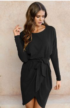 Look+wonderful+with+this+Black+Autumn+Casual+Long+sleeve+women+dress.+It+features+a+rectagular+sleeve+style+that+will+give+you+a+perfect+feminine+look.    -+Composed+of+polyester.  -+Sizes+available+are+from+S+to+XL.  -+O+neck,+Long+Sleeeve,+Above+Knee.