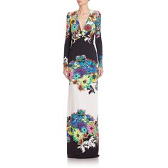 Roberto Cavalli Flower Power Long-Sleeve Lycra Dress ($1,710) ❤ liked on Polyvore featuring dresses, apparel & accessories, black, wet look dress, v neck dress, black v neck dress, black floral print dress and long sleeve black dress
