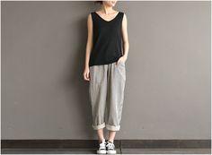 Loose cotton yarn dyed stripe joker turnip pants  #pants #dress #linendress #loosepants #linen