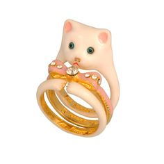 Les Nereides - White cat stack ring Love Persimmon