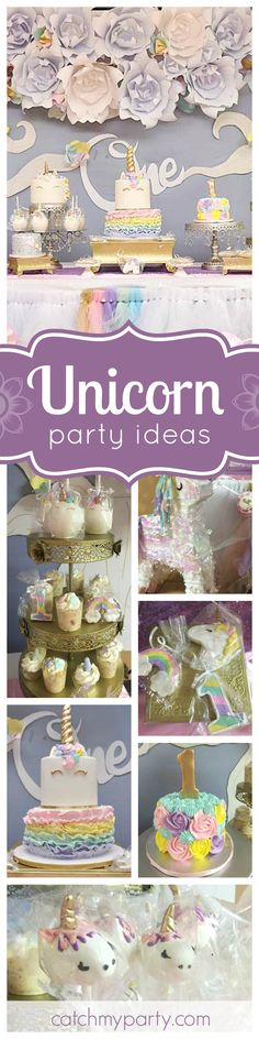 Check out this gorgeous Unicorn 1st Birthday Party! The many birthday cakes are all just so beautiful! See more party ideas and share yours at CatchMyParty.com