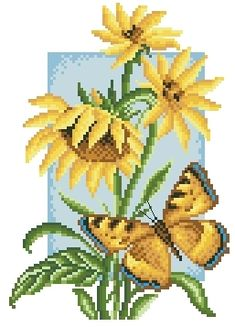 Butterfly and Sunflower Butterfly Cross Stitch, Cross Stitch Borders, Cross Stitch Flowers, Cross Stitch Charts, Cross Stitching, Cross Stitch Patterns, Embroidery Flowers Pattern, Crewel Embroidery, Cross Stitch Embroidery