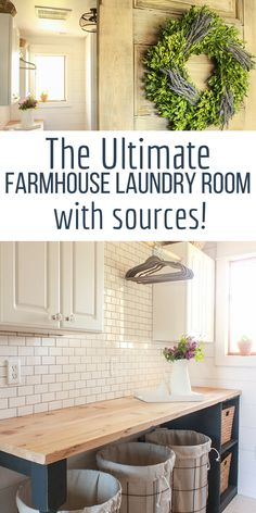 You have to check out this farmhouse style laundry room! This transformation is amazing and I cannot believe the before! It is complete with subway tile backsplash, mosaic tile floor, shiplap, rustic wood shelves, andhabnd made butcher block countertops! Such a beautiful and functional laundry room! #laundryroom #farmhouse #farmhousestyle #farmhousedecor #laundry #laundryroomdecor #TwelveOnMain #shiplap #subwaytile #mosaictile #rusticshelves