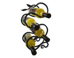 Hand Forged  Wrought Iron Wine Rack with Leaf Detailing - Blacksmith Art