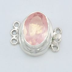 Silver Box Clasps - Rose Quartz Clasp - Silver Gemstone Clasps - 6 Strand Clasp - natural stone Clasp, Stone Size Approx 10*14mm