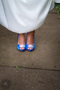 Bright blue heels that stand out
