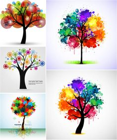 All free vectors and illustrations in EPS and AI - Page 65 Watercolor Artists, Abstract Watercolor, Watercolor And Ink, Watercolor Paintings, Abstract Trees, Easy Canvas Art, Tree Art, Art And Architecture, Rainbow Colors