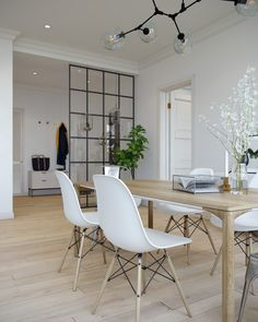Scandinavian style apartment on Behance Scandinavian Style, Scandinavian Interior, Partition Design, Design Apartment, Apartment Projects, Home Decor Styles, Living Room Decor, Sweet Home, Dining Table